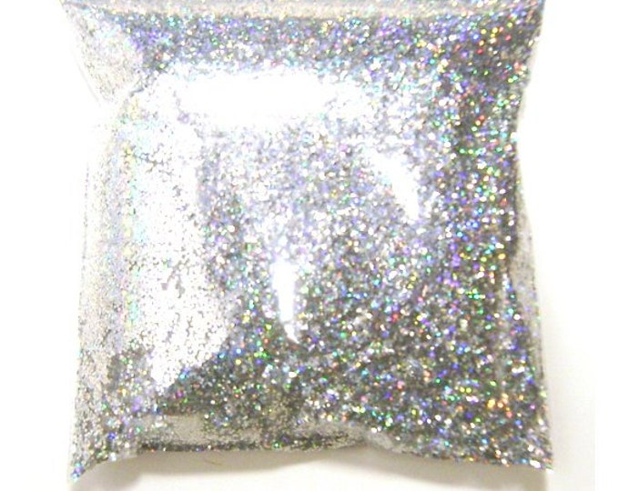 """Silver Jewels Chunky Holographic Glitter, Solvent Resistant Poly .025"""" Large Holo Glitter Nail Polish, Body & Face, Lips 9oz / 266ml Package"""