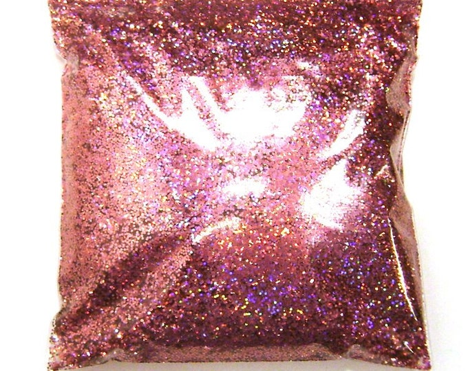 """Holographic Glitter, Chunky Pink Jewels, Solvent Resistant Poly .025"""" Large Holo Glitter Nail Polish, Body & Face, Yeti 9oz / 266ml Package"""