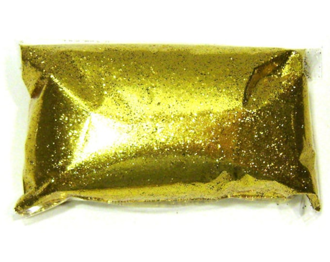 "Rich Gold Glitter .015"" Fine Loose Bulk Solvent Resistant Poly Glitter - Wine Glass, Wedding, Eyeshadow, Glitter Nails - 6oz / 177ml Package"