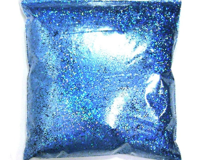 """Holographic Glitter, Chunky Sky Blue Jewels, Solvent Resistant Poly .025"""" Large Holo Glitter Nail Polish, Body & Face - 9oz / 266ml Package"""