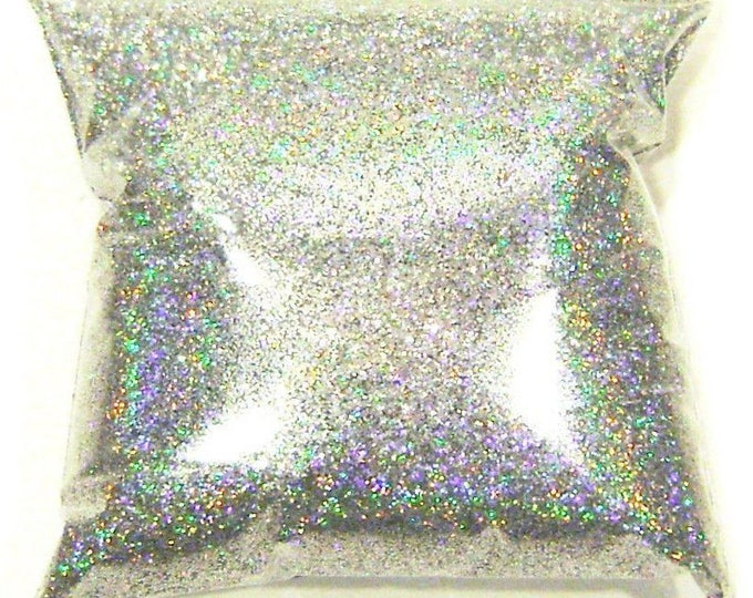 """Silver Jewels Holographic Glitter - Solvent Resistant Polyester .015"""" Poly Holo Glitter - Nail Polish - Slime - Tumbler 9oz / 266ml Package"""
