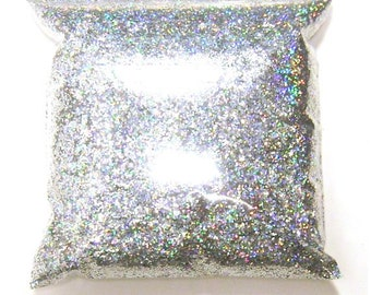 """Silver Jewels Chunky Holographic Glitter, Rainbow Polyester .025"""" Poly Holo Bulk Glitter, Slime, Sneakers, Resin, Epoxy 11oz / 325ml Package"""