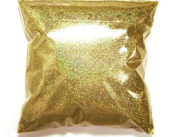 """Holographic Glitter, Gold Jewels, Solvent Resistant .008"""" Fine Poly Holo Glitter, Nail Polish, Shoe, Wedding Glitter - 11oz / 325ml Package"""
