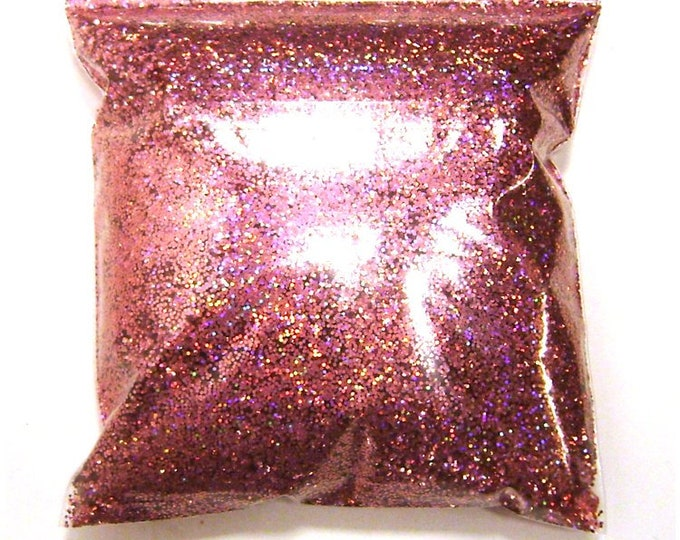 """Holographic Glitter, Chunky Pink Jewels, Rainbow Polyester .025"""" Poly Holo Bulk Glitter, Slime, Sneakers, Resin, Epoxy 11oz / 325ml Package"""