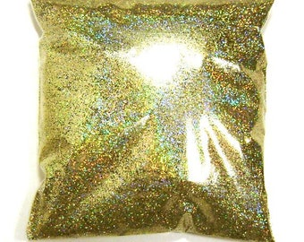 """Gold Jewels Holographic Glitter, Iridescent Holographic Fine .015"""" Glitter, Nail Polish, Body & Face, Yeti, Tumbler - 9oz / 266ml Package"""