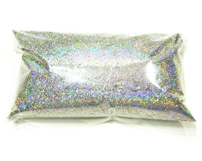 "Silver Jewels Holographic Glitter - Solvent Resistant Polyester .015"" Holo Fine Glitter - Nail Polish, Makeup, Tumbler, Yeti, Slime Glitter"