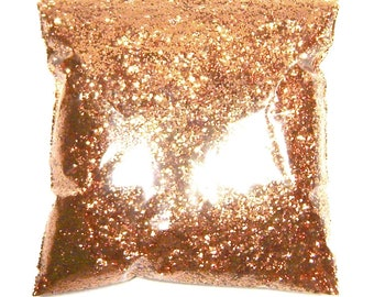"""Polished Copper Glitter, Solvent Resistant Polyester, Metallic .025"""" Chunky Glitter Body, Tattoo,  Resin, Nail Glitter  9oz / 266ml Package"""