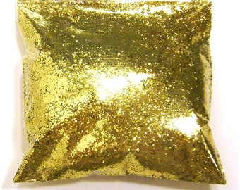 """Chunky, Rich Gold Glitter, Solvent Resistant Poly, .025"""" Hex, Nail Polish, Lip Gloss, Resin Jewelry & Art, Epoxy Safe, 11oz / 325ml Package"""