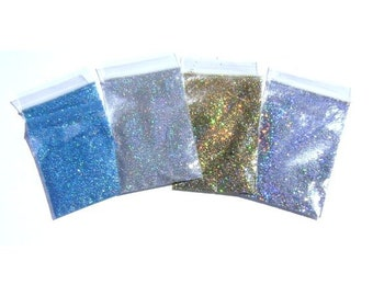 Holographic Glitter Holo Sampler Set #1 - Solvent Resistant Polyester Glitter Nail Art, Glitter Nail Polish, Makeup, Lip Gloss, Glitter Pack