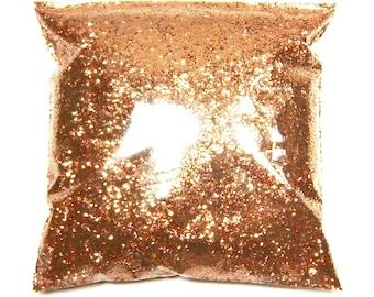 "Polished Copper Glitter, Solvent Resistant .025"" Poly Metallic Chunky Bulk Glitter, Tumblers, Jars, Nail Polish Glitter 11oz / 325ml Package"