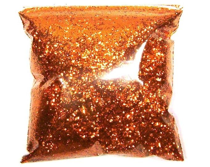 "Bright Orange Chunky Glitter .025"" Solvent Resistant Loose Bulk Poly Metallic Glitter, Nail Polish, Slime, Resin Art - 11oz / 325ml Package"