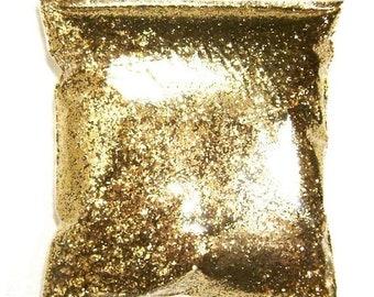 """35% Off Chunky Glitter Golden Sand (Dark Gold) .025"""" Solvent Resistant Polyester Bulk Glitter, Body, Nail Polish, Tumbler, Hair 9oz / 266ml"""