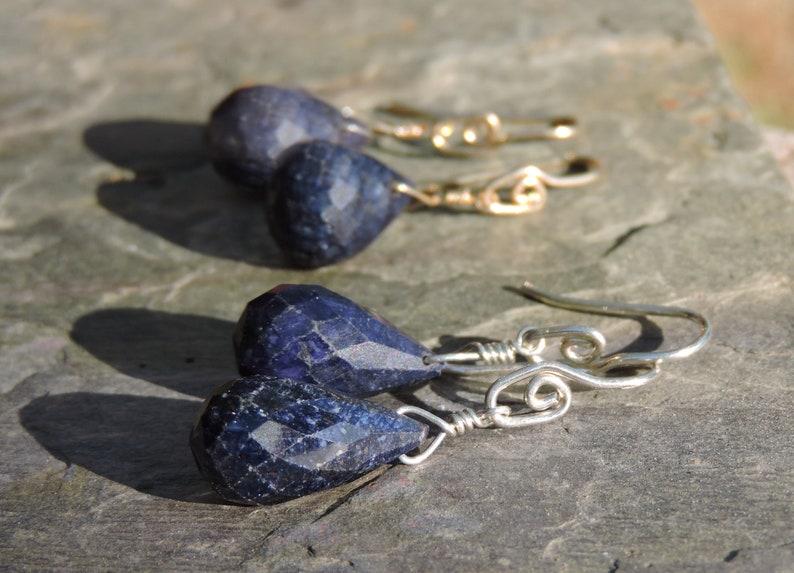 a420129dd Sapphire Minimalist Earrings Blue Gemstone Petite Drops | Etsy