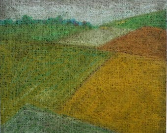 Oil Pastels, Original Drawing, Landscape art, Contemporary art, Green, Brown, Paper, Fields, Colors, Nature, Graphic art