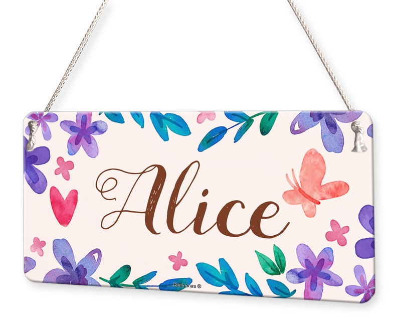 Watercolour Flowers and Butterfly Personalised Childs Bedroom Door Sign Name Plaque