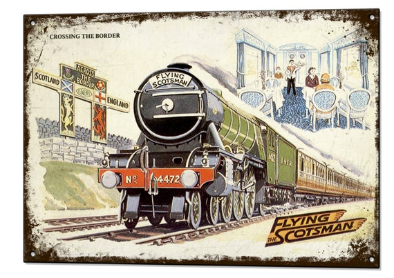 The Track Of The Flying Scotsman British Railway Old Retro Vintage Advert Poster