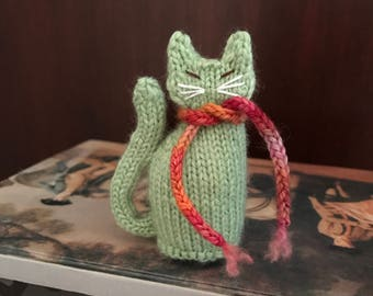 Ready To Ship Hand Knitted Little Green Cat Gift For Cat Lovers Birthday Present Cat Figurine Gift For Her Christmas Gift CatDKnits