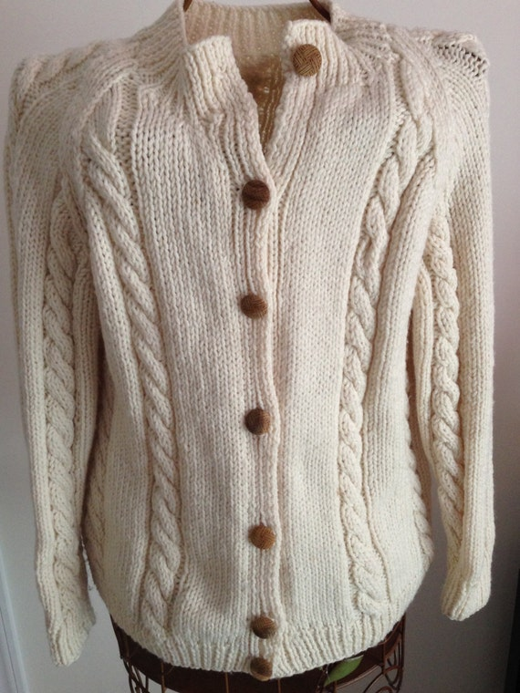 Hand Knitted Ivory Cabled Sweater Cardigan Ladies Irish Sweater Women/'s Cardigan Birthday Present Christmas Present Gift For Her CatDKnits