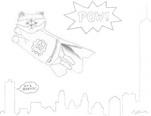 Superhero Cat Coloring Page Downloadable PDF Printable Etsy