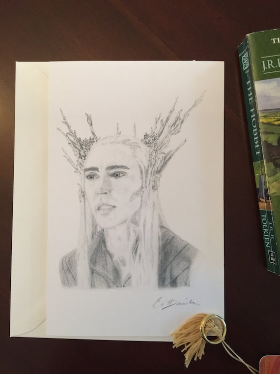 Thranduil Drawing Elvenking Portrait Lee Pace The Hobbit Art Lord of The Rings Hand Drawn Art 8.5 x 11 Print Christmas Gift CatDKnits