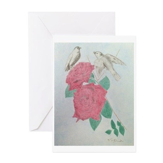 Art Cards Doves And Roses Color Pencil Drawing Christmas