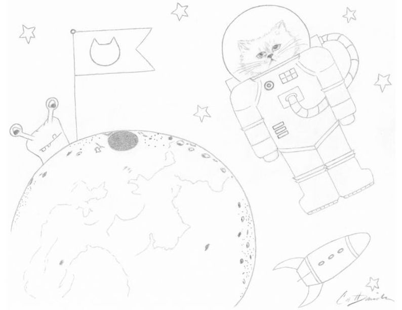 Space Cat Coloring Page Downloadable PDF Printable Astronaut Cat Drawing  Christmas Present Cat Art Party Activity Birthday Gift CatDKnits