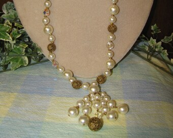Pearl, Gold filagree, and aurora borealis beaded necklace with hanger