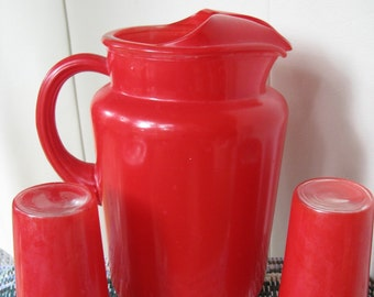 Vintage Red Pitcher with two matching Glasses