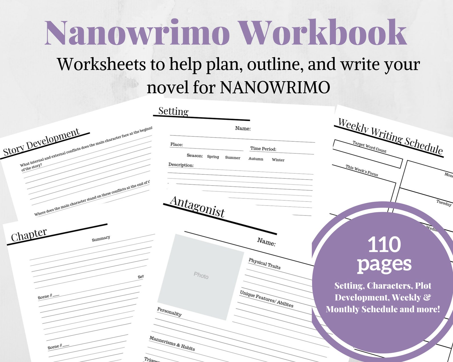 Nanowrimo 30 Day Novel Workbook