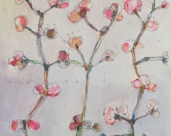Pink Flowers I/ Acrylic Painting/ Original Painting/ 40 cm x 40 cm