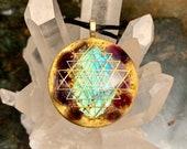 Orgonite Pendant Orgone Elite Sri Yantra 24k Gold Flake, Elite Shungite, Labradorite, Amethyst EMF Protection Jewelry 2 Sizes