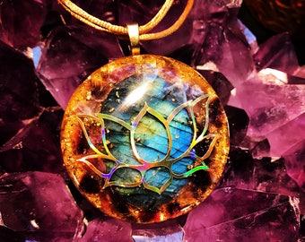 "Orgonite® Pendant ~ Orgone Elite Lotus ~ 24k Gold Flake, Elite Shungite, Labradorite, Amethyst EMF Protection Jewelry 2"""
