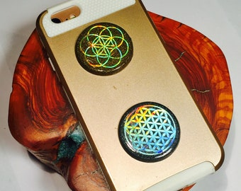 2 Orgonite® Orgone for Cell Phone Discs ~ Shungite Cellgone EMF Radiation Protection / Pocket Harmonizers ~ Flower / Seed of Life