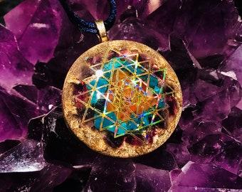 "Orgonite® Pendant ~ Orgone Sri Yantra ~ Shungite, Amethyst, Carnelian, Chrysocolla EMF Protection Jewelry 2"""