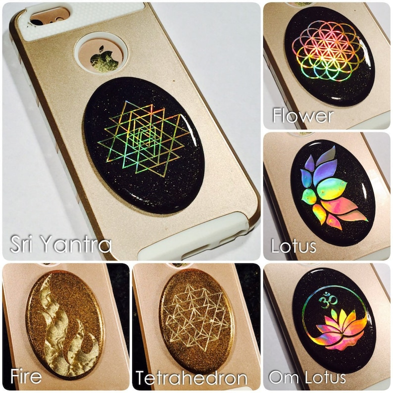 Cell Phone Orgonite® Orgone ~ Shungite EMF Protection W/ Shielding Fabric,  Flower of Life, Sri Yantra, Metatron, Sacred Geometry
