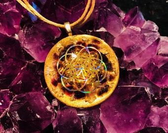"Orgonite® Pendant ~ Orgone Seed / Flower of Life ~ Amethyst, 24K Gold, Shungite ~ EMF Protection Jewelry Medallion 1.85"""