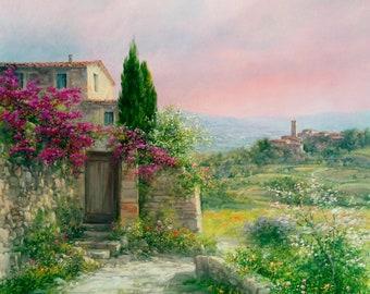 39903aa614d Italian painting oil on canvas of Antonietta Varallo sunset on Tuscany  countryside original artwork home decor Italy