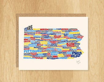 Hand Lettered Pennsylvania Card, Pennsylvania Gift, Pennsylvania Shape, Pennsylvania Cities Card, Pennsylvania Notecard