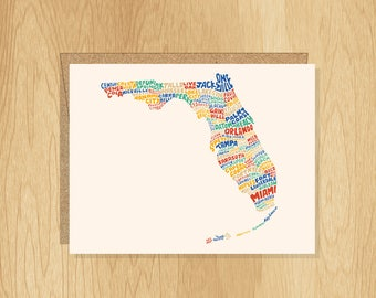 Hand Lettered Florida Card, Florida Gift, Florida Shape, Florida Cities Card, Florida Notecard