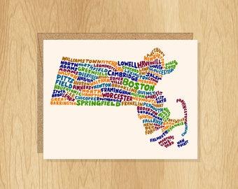 Hand Lettered Massachusetts Card, Massachusetts Shape Card, Massachusetts Cities Card, Massachusetts Notecard