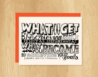 Hand Lettered Achieving Goals Card, Motivational Quote Card, Friendship Card, Inspirational Card