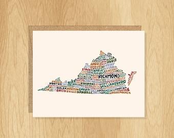 Hand Lettered Virginia Card, Virginia Gift, Virginia Shape, Virginia Cities Card, Virginia Notecard