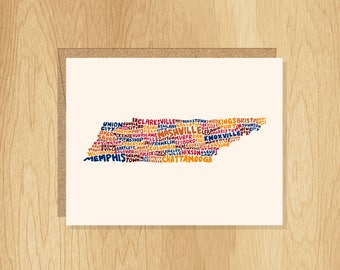 Hand Lettered Tennesee Card, Tennessee Gift, Tennessee Shape, Tennessee Cities Card, Tennessee Notecard