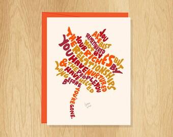 Hand Lettered Maple Leaf Card, Nature Card, Fun Thank You Card, Autumn Card, Thanksgiving Card, Fall Card, Friendship Card