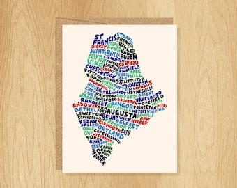 Hand Lettered Maine Card, Maine Shape Card, Maine Cities Card, Maine Gift, Maine Blank Card Maine Notecard