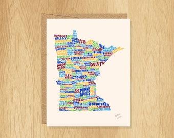 Hand Lettered Minnesota Card, Minnesota Gift, Minnesota Shape, Minnesota Cities Card, Minnesota Notecard