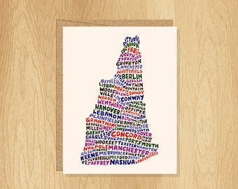 Hand Lettered New Hampshire Card, New Hampshire Shape Card, New Hampshire Cities Card, New Hampshire Notecard