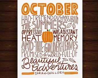 Hand Lettered October Had Tremendous Possibility Print, October Print, October Artwork, October Art, Fall Art, Fall Print