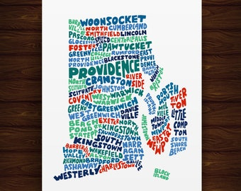 Hand Lettered Rhode Island Print, Rhode Island Shape, Rhode Island Gift, Rhode Island Print, Rhode Island Artwork