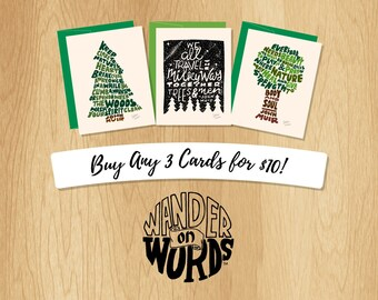 Mix and Match Any 3 Hand-Lettered Wander On Words Cards, Card Assortment, Hand-Lettered Cards, 3 Cards, Choose Your Own Hand-Lettered Cards